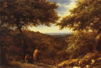 shepherds and their flock at rest by william linnell