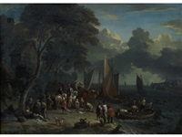 figures on the banks of a river by lucas smont the younger