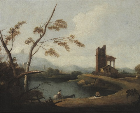 südliche ideallandschaft mit ruine am see by francesco guardi