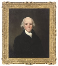 portrait of warren hastings, governor-general of bengal, in a blue coat and white stock by lemuel francis abbott