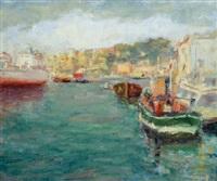 vista del porto di genova by giovanni fasce