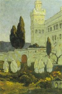 algéroises au pied de la mosquée abd-el-tahmane by hendrik johannes haverman