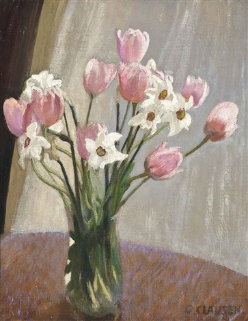tulips and narcissi by sir george clausen