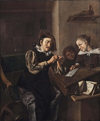 a school interior with the head master sharpening a pencil while two children look on by bernardus van schendel