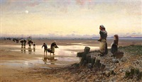 early morning with shellfish collectors on a beach in brittany by frithjof smith-hald