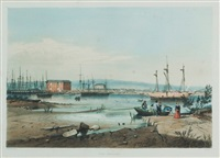 port adelaide,. plate 7 from south australia illustrated by george french angas