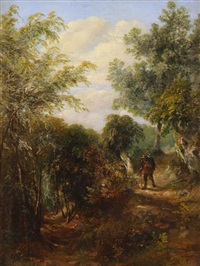 traveler in a woodland landscape by patrick nasmyth