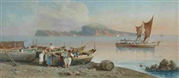 a coastal scene with figures and boats by y. gianni