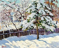 russian winter landscape with the low sun shining by karl nikolaevich kahl