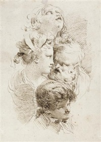 a sheet of studies of four heads by mauro gandolfi