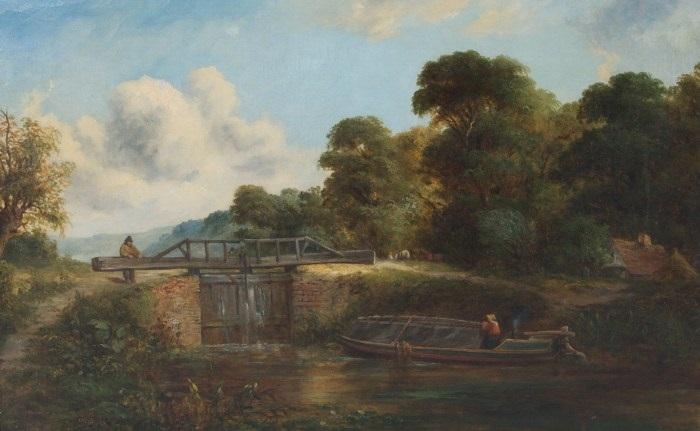 a boat along a canal by edmund john niemann