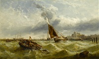 a harbor scene with sailboats and riggers in choppy seas by william edward webb