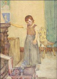 tyttö hellan ääressä by maria wiik