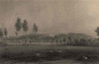 a distant view of a country house by henry bryan ziegler