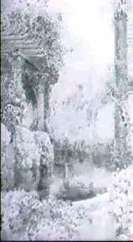 a pergola by a pond in a flower garden by edith helena adie
