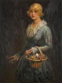 porträt einer dame mit obstkorb by frantisek naske