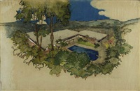 architectural rendering of the hammerman residence by richard neutra