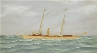the american steam yacht reverie at sea by thomas h. willis