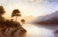 lake and mountain landscape by george drummond fish