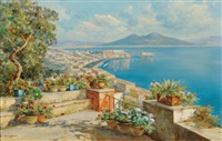 panoramic view of the bay of naples and mt. vesuvius by carlo ciappa