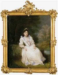 retrato de dama de blanco en un jardín by raimundo de madrazo y garreta