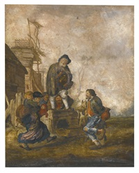 peasants dancing to the music from a hurdy-gurdy player by margarethe de heer