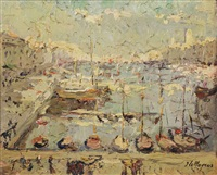 view of the harbour of marseille by adrien jean le mayeur de merprés