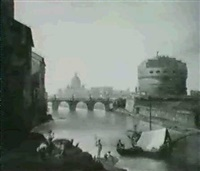 the castel san angelo with st.peter's rome beyond by john (newbott) newbolt