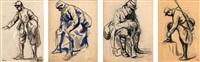 poilu, sa capote sur le bras, soldat au repos, soldat de la première guerre mondiale, poilu assis de dos, soldat de la grande guerre relaçant ses guêtres (5 works) by maximilien luce