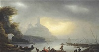 a mediterranean harbour scene, with fishermen on the shore and boats beyond by francesco fidanza