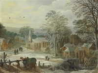 a winter landscape with travellers arriving at a town (collab. w/ jan breughel ii) by joos de momper the elder
