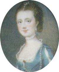 brustbildnis einer jungen rokokodame im blauen kleid mit spitzenkragen und perlenschmuck im braunen haar by penelope cotes