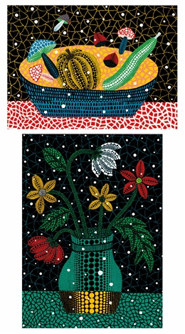 a果物 b花 fruits flowers set of 2 by yayoi kusama