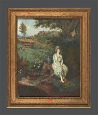 jeune femme à la fontaine, assise, dans un paysage, une bergerie et un village en perspective by jean antoine laurent