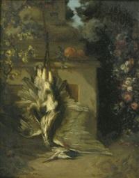 nature morte au héron dans un jardin fleuri by philippe rousseau