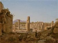 couple de bergers avec des agneaux devant les ruines de pompéi by frans vervloet