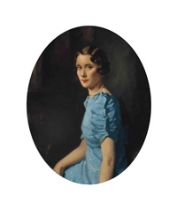 portrait of leslie lever-tilletson, seated half-length, in a blue dress by henry raeburn dobson