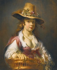 a girl with a basket of fruit by jan van noordt