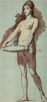 étude pour salomé et son plateau (study) by henri léopold lévy