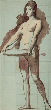 étude pour salomé et son plateau study by henri léopold lévy