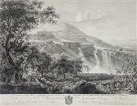 vue des petites cascatelles avec la maison de campagne de mecene a tivoli by guillaume f. gmelin