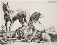 die drei hunde, pl.3 (from hundedarstellungen) by pauwels van hillegaert