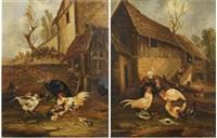 scènes de basse-cour (pair) by philibert-leon couturier