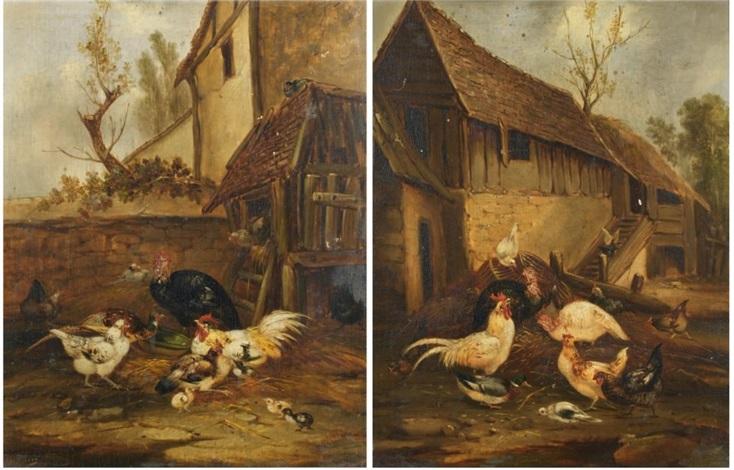 scènes de basse cour pair by philibert leon couturier