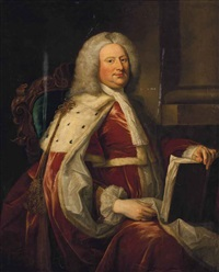 portrait of a gentleman traditionally identified as an ancestor of lord granville, three-quarter-length, in coronation robes, his left hand resting by thomas hudson