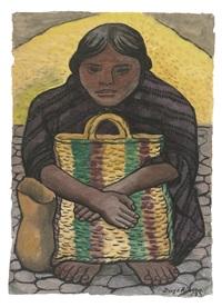 mujer con morral sentada de frente by diego rivera