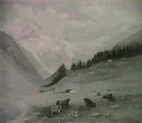 alplandschaft mit ruhendem vieh by edouard-louis-auguste metton