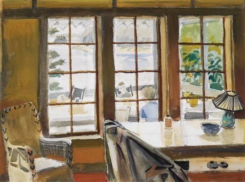 interior, looking out by fairfield porter