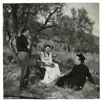 alain cuny en tournage jacques prévert, marcel carné et marie déa les visiteurs du soir (4 works) by g.r. aldo