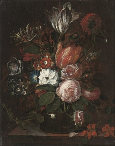 parrot tulips, peonies, and convolvulus in a glass vase by jan frans van dael